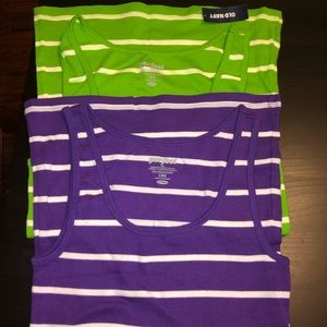NWT Lot of 2 Old Navy Striped Ribbed Tanks Sz L